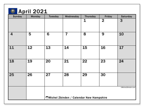 April 2021 Calendar, with the holidays of New Hampshire. Holidays calendar to print free.
