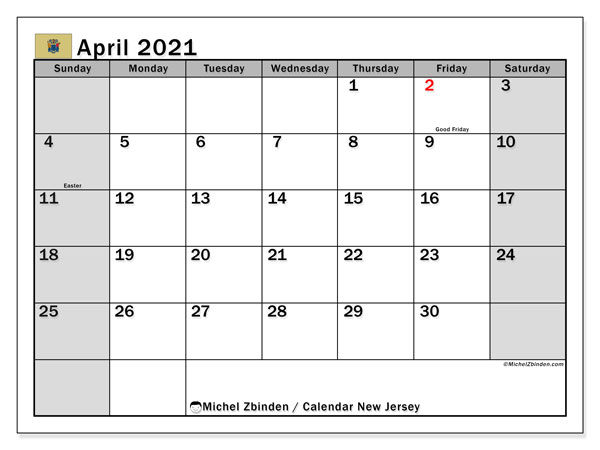 Calendar April 2021 - New Jersey. Public Holidays. Monthly Calendar and free schedule to print.