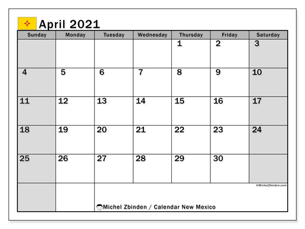 Calendar April 2021 - New Mexico. Public Holidays. Monthly Calendar and free printable bullet journal.
