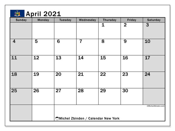 Calendar April 2021 - New York. Public Holidays. Monthly Calendar and timetable to print free.