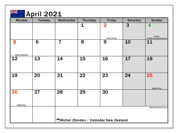 April 2021 Calendar, with the holidays of New Zealand. Holidays calendar to print free.