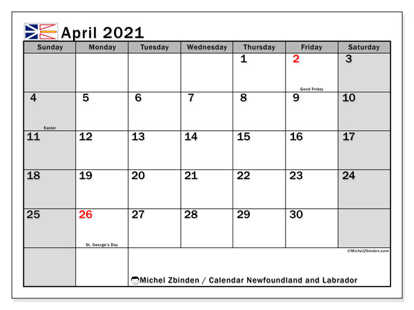 April 2021 Calendar, with the holidays of Newfoundland and Labrador. Free printable calendar with public holidays.