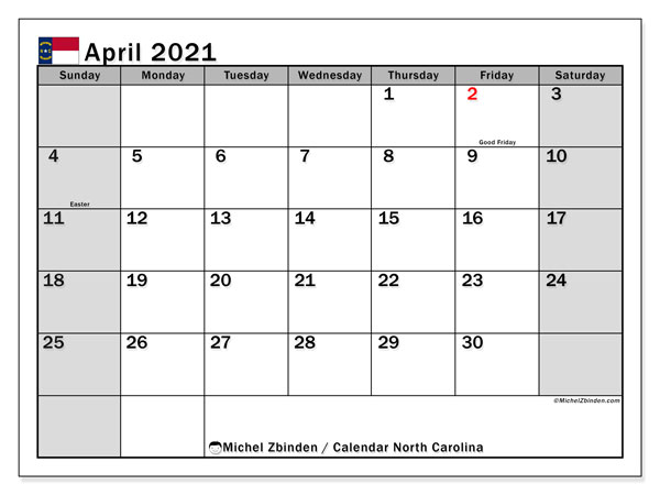 Calendar April 2021 - North Carolina. Public Holidays. Monthly Calendar and schedule to print free.