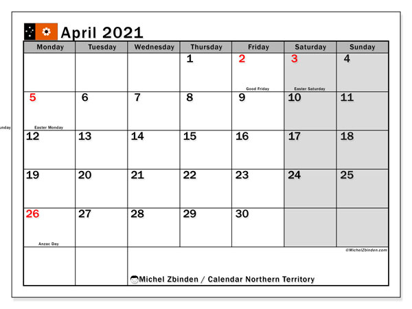 April 2021 Calendar, with the holidays of Northern Territory. Free printable calendar with public holidays.