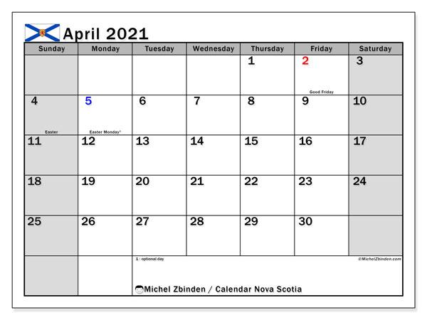 April 2021 Calendar, with the holidays of Nova Scotia. Holidays calendar to print free.