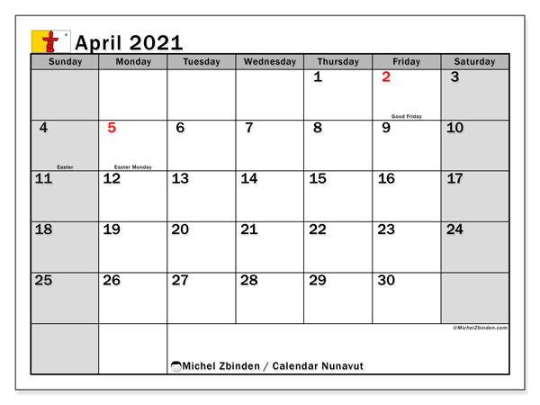 April 2021 Calendar, with the holidays of Nunavut. Free printable calendar with public holidays.