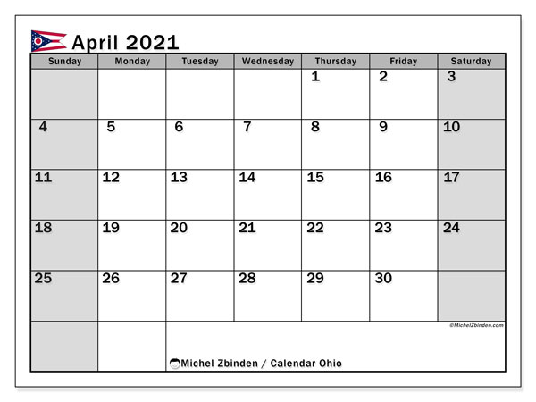 April 2021 Calendar, with the holidays of Ohio. Free printable calendar with public holidays.