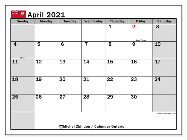 April 2021 Calendar, with the holidays of Ontario. Free printable calendar with public holidays.