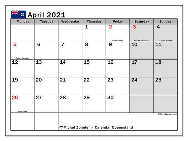 April 2021 Calendar, with the holidays of Queensland. Holidays calendar to print free.