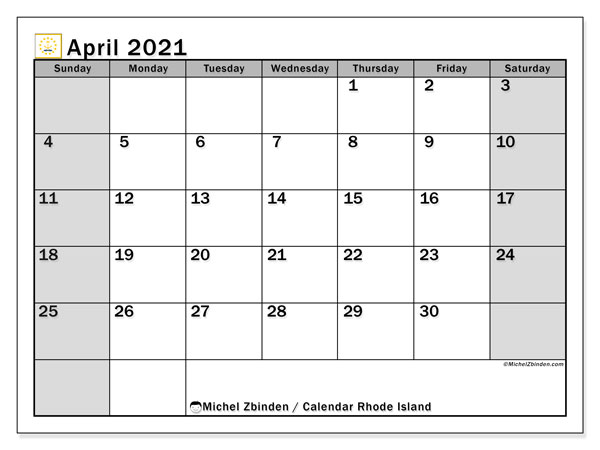 Calendar April 2021 - Rhode Island. Public Holidays. Monthly Calendar and free printable timetable.