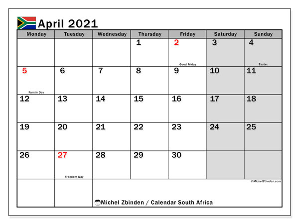 April 2021 Calendar, with the holidays of South Africa. Free printable calendar with public holidays.