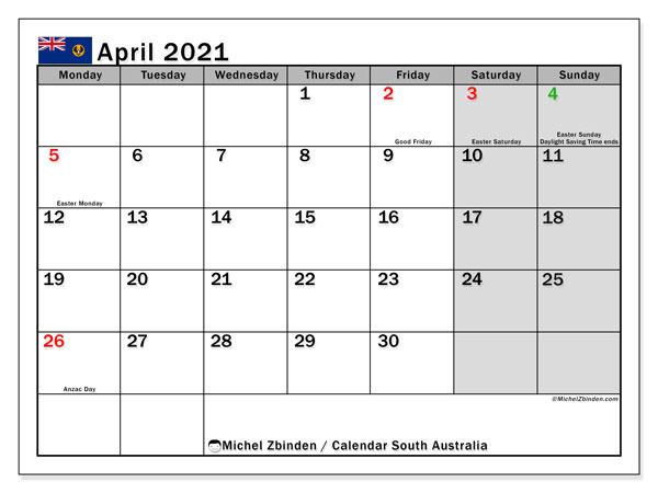 April 2021 Calendar, with the holidays of South Australia. Free printable calendar with public holidays.