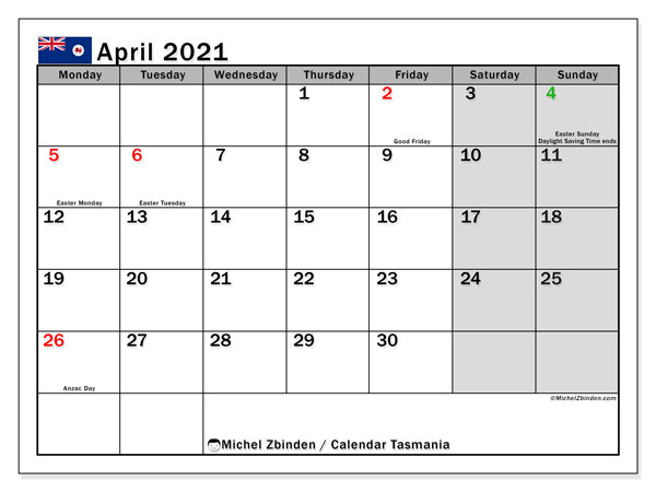 April 2021 Calendar, with the holidays of Tasmania. Free printable calendar with public holidays.