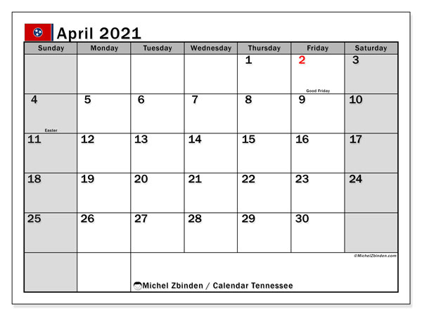 Calendar April 2021 - Tennessee. Public Holidays. Monthly Calendar and free agenda to print.