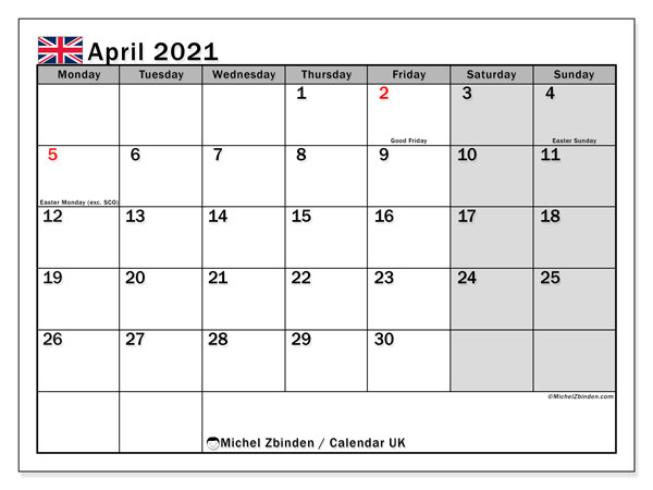 April 2021 Calendar, with the holidays of UK. Free printable calendar with public holidays.