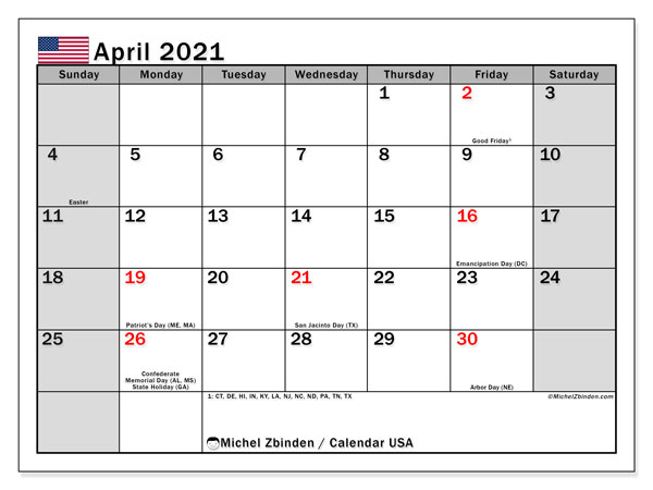 "Printable ""USA"" calendar with public holidays. Monthly April 2021 calendar and free printable agenda."