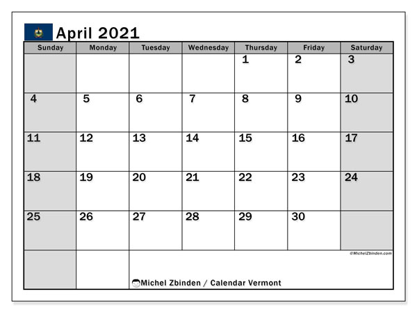 April 2021 Calendar, with the holidays of Vermont. Free printable calendar with public holidays.