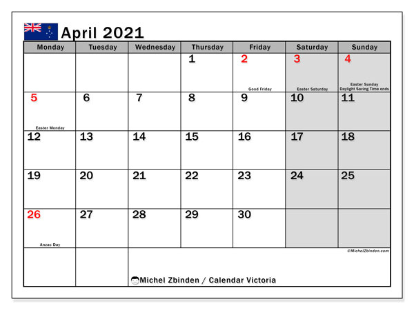 April 2021 Calendar, with the holidays of Victoria. Free printable calendar with public holidays.