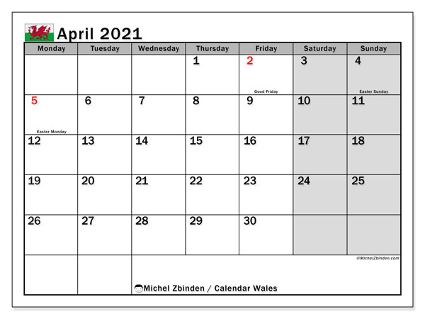 April 2021 Calendar, with the holidays of Wales. Free printable calendar with public holidays.