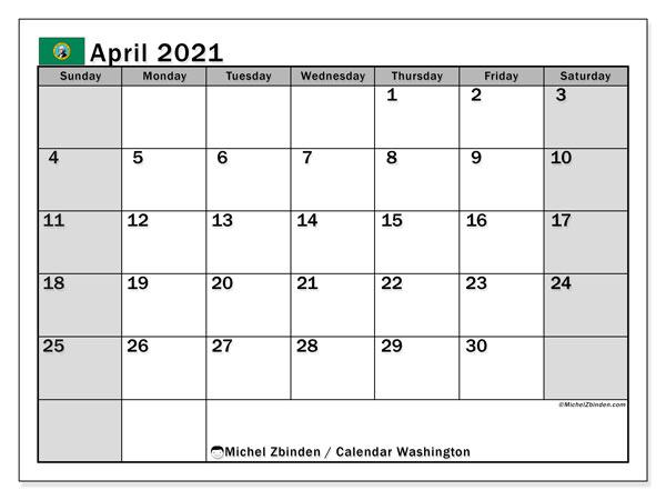 April 2021 Calendar, with the holidays of Washington. Free printable calendar with public holidays.
