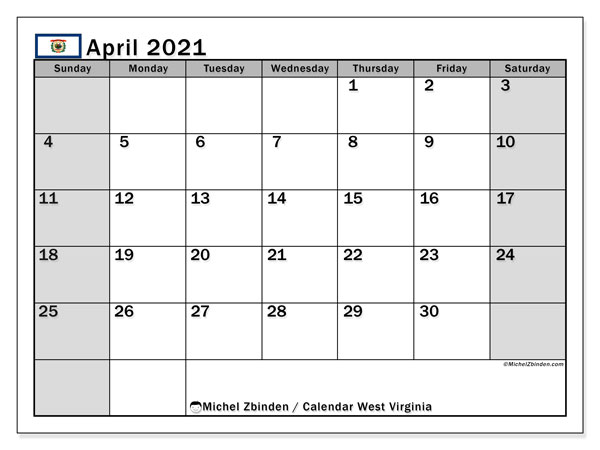 April 2021 Calendar, with the holidays of West Virginia. Free printable calendar with public holidays.
