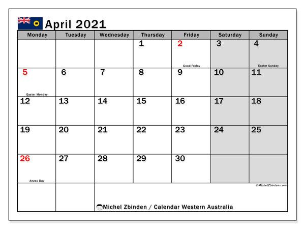 Calendar April 2021 - Western Australia - Michel Zbinden EN