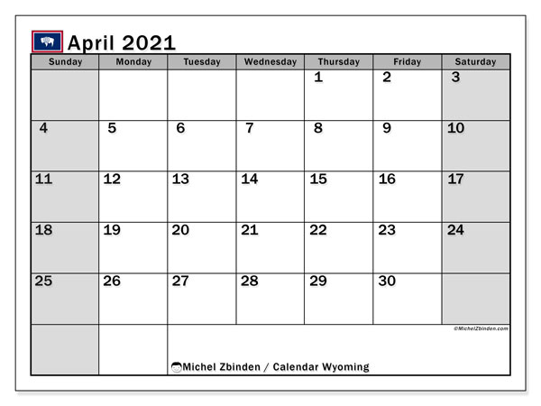 Calendar April 2021 - Wyoming. Public Holidays. Monthly Calendar and free timetable to print.