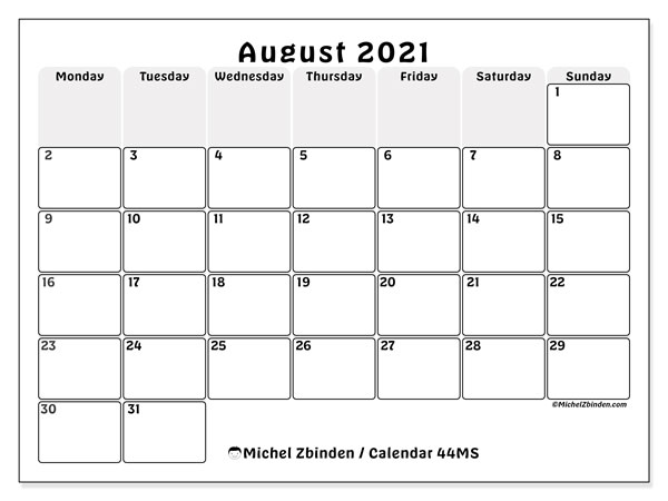 August 2021 Calendar, 44MS. Planner to print free.