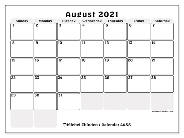 August 2021 Calendar, 44SS. Free printable monthly planner.