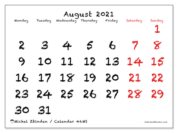 August 2021 Calendar, 46MS. Monthly planner to print free.