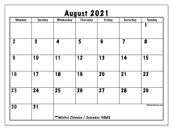 August 2021 Calendars (MS).  48MS.