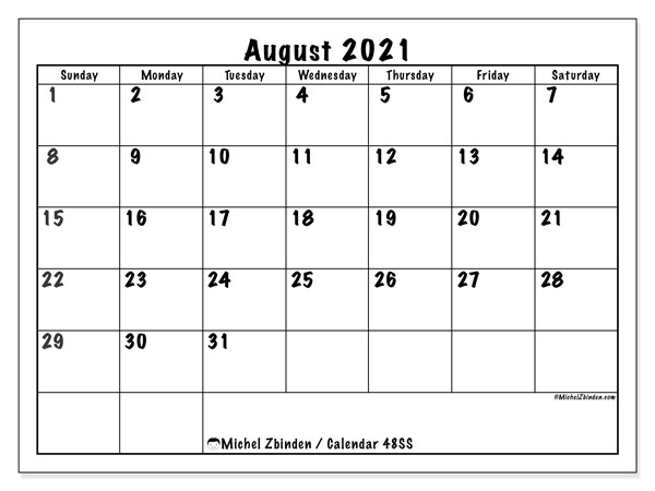 August 2021 Calendar, 48SS. Free printable monthly planner.