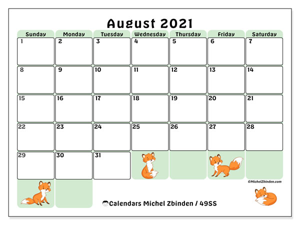 August 2021 Calendar, 49SS. Calendar for the month to print free.