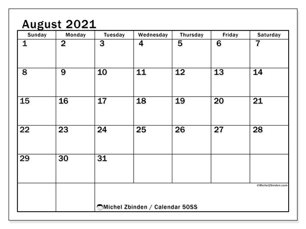 August 2021 Calendar, 50SS. Free planner to print.