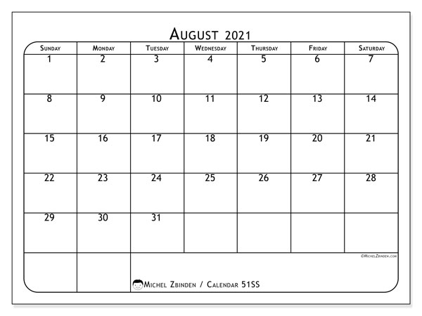 "Printable August 2021 calendar. Monthly calendar ""51SS"" and free printable agenda"