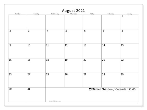 August 2021 Calendars (MS).  53MS.