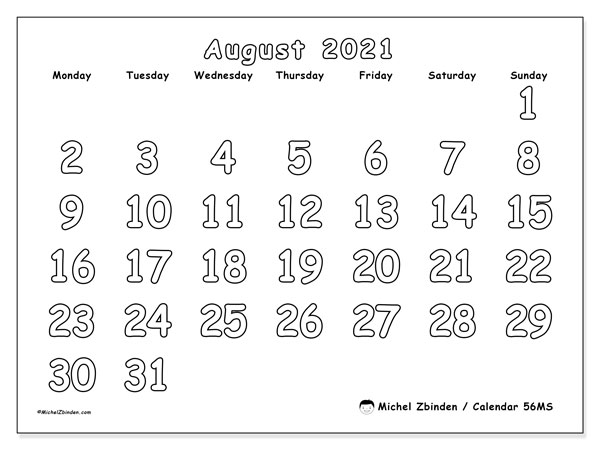 August 2021 Calendars (MS).  56MS.