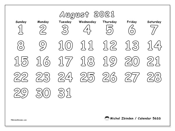 Calendar August 2021 - 56SS. Colouring. Monthly Calendar and free agenda to print.
