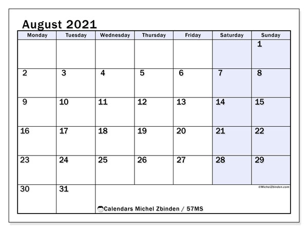 August 2021 Calendar, 57MS. Calendar for the month to print free.