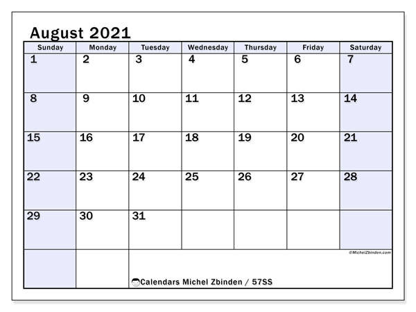 August 2021 Calendar, 57SS. Calendar for the month to print free.