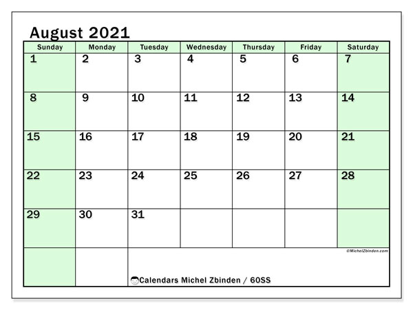 Calendar August 2021 - 60SS. Bright Green. Monthly Calendar and free agenda to print.