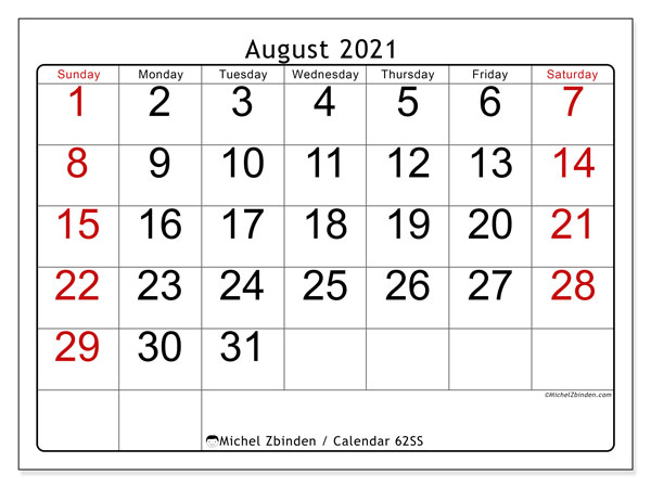 August 2021 Calendar, 62SS. Free printable monthly planner.