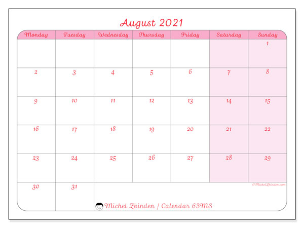 "Printable August 2021 calendar. Monthly calendar ""63MS"" and timetable to print free"