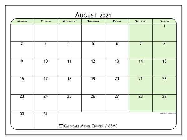 Calendar August 2021 - 65MS. Soft Green. Monthly Calendar and planner to print free.