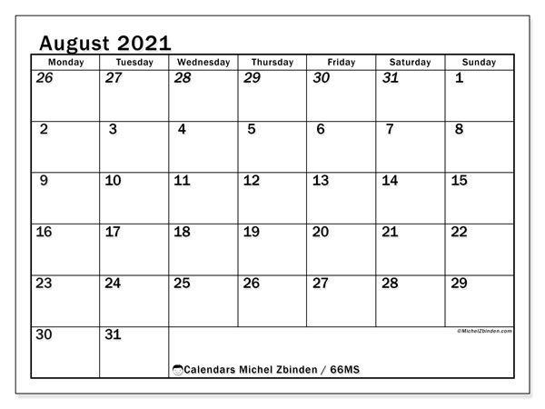 August 2021 Calendar, 66MS. Free printable monthly planner.