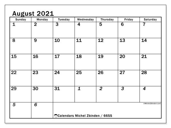 August 2021 Calendar, 66SS. Free bullet journal to print.