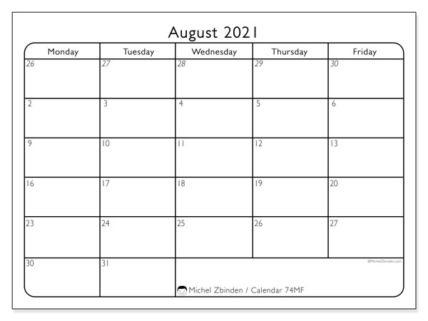 August 2021 Calendar, 74MS. Monthly calendar to print free.