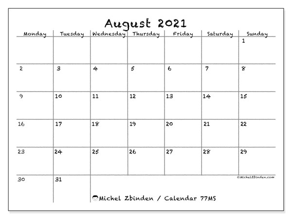 August 2021 Calendars (MS).  77MS.