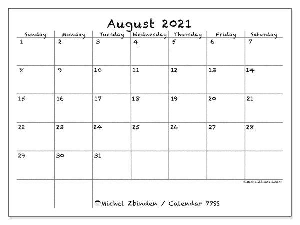 August 2021 Calendar, 77SS. Monthly calendar to print free.