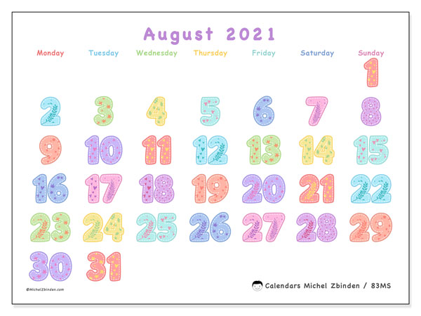 Calendar August 2021 - 83MS. Festival of Colors. Monthly Calendar and free bullet journal to print.